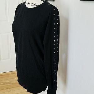 Studded Sleeve Black Sweater ♡